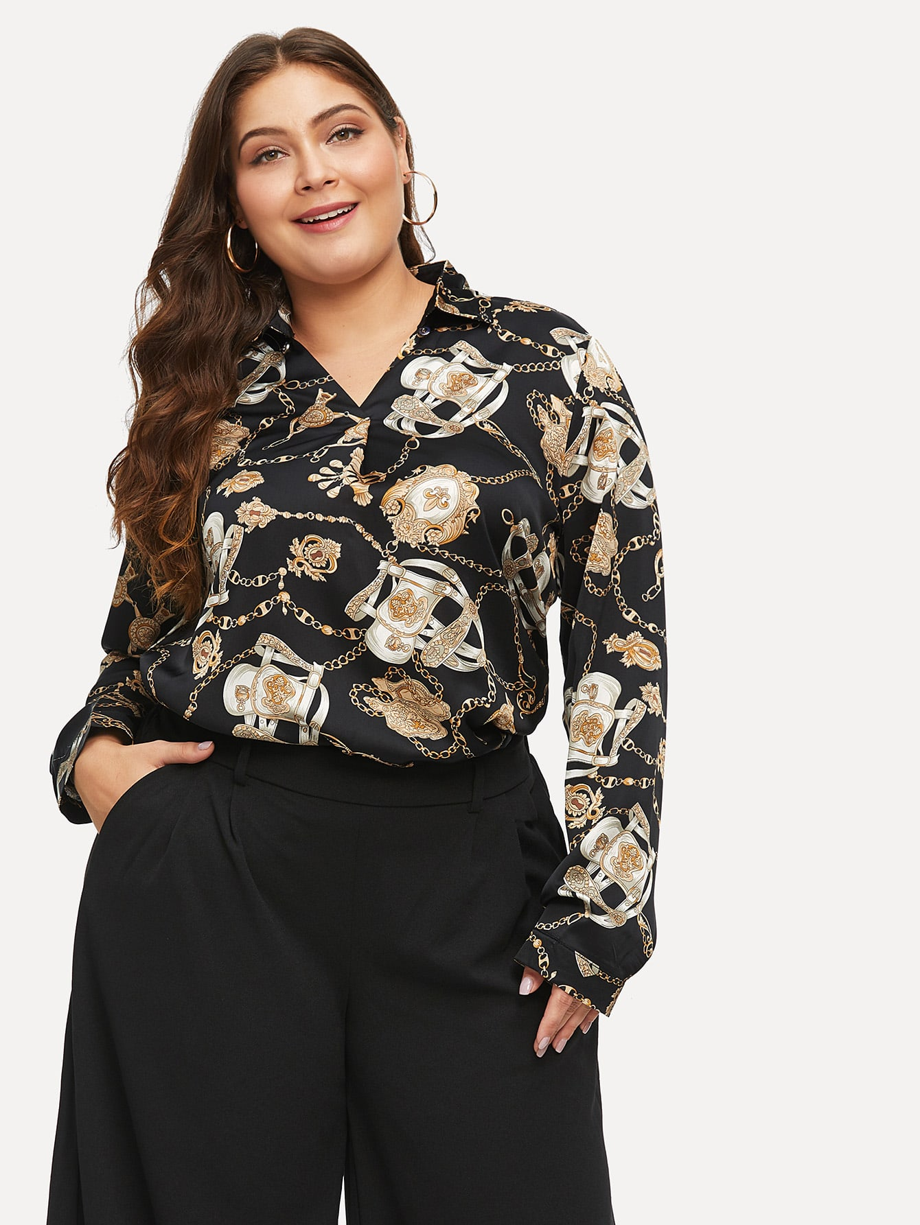 Купить Размера плюс рубашка с V-образным вырезом и принтом графическим, Carol, SheIn