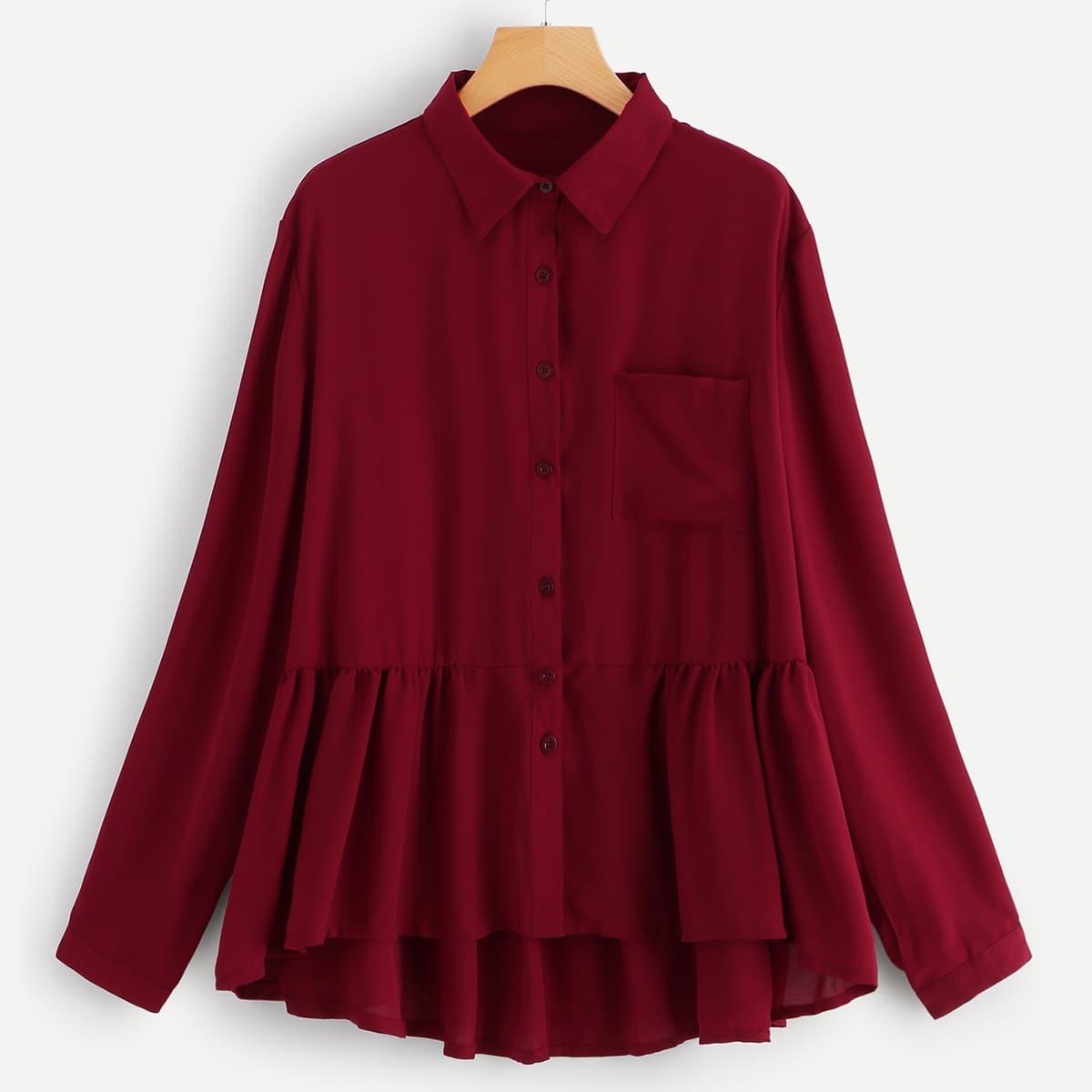 Bordeaux Casual Vlak Grote maten blouses Geribd