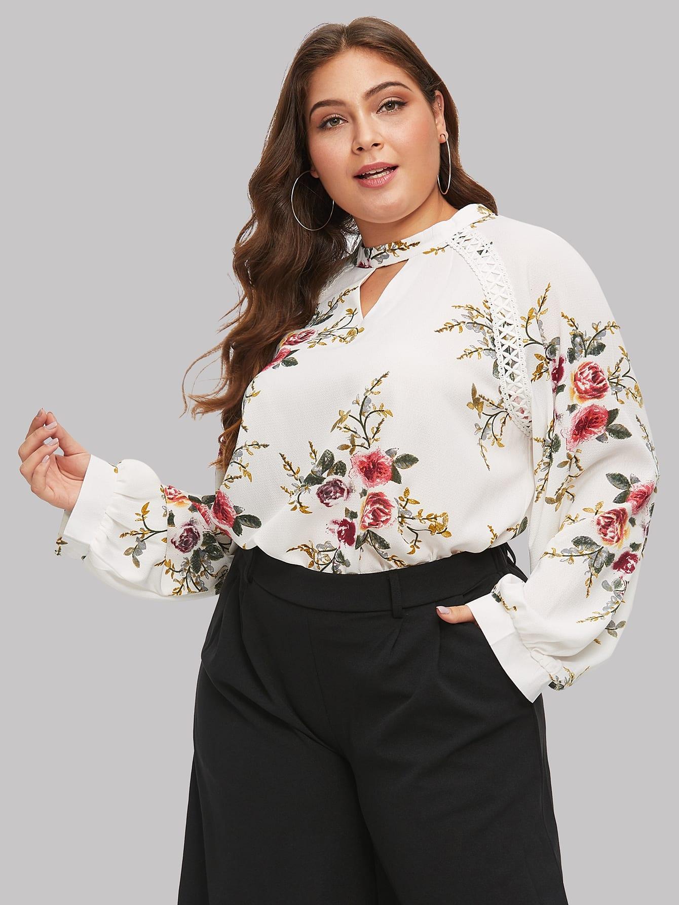 Купить Размера плюс блуза с рукавом-регланом и разрезами, Carol, SheIn