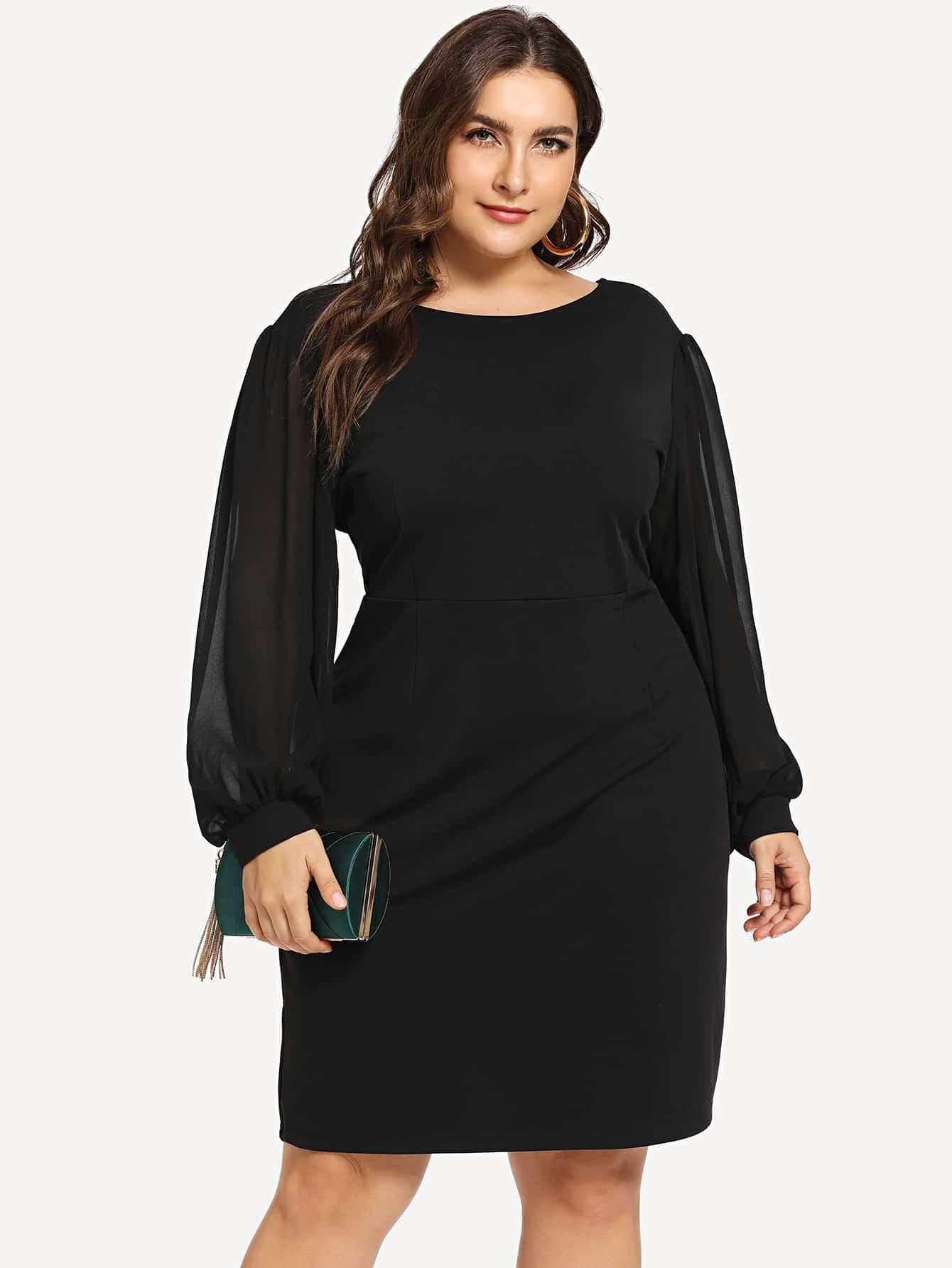 Купить Размера плюс платье из шифона с контрастными рукавами и низким V-образным вырезом, Franziska, SheIn