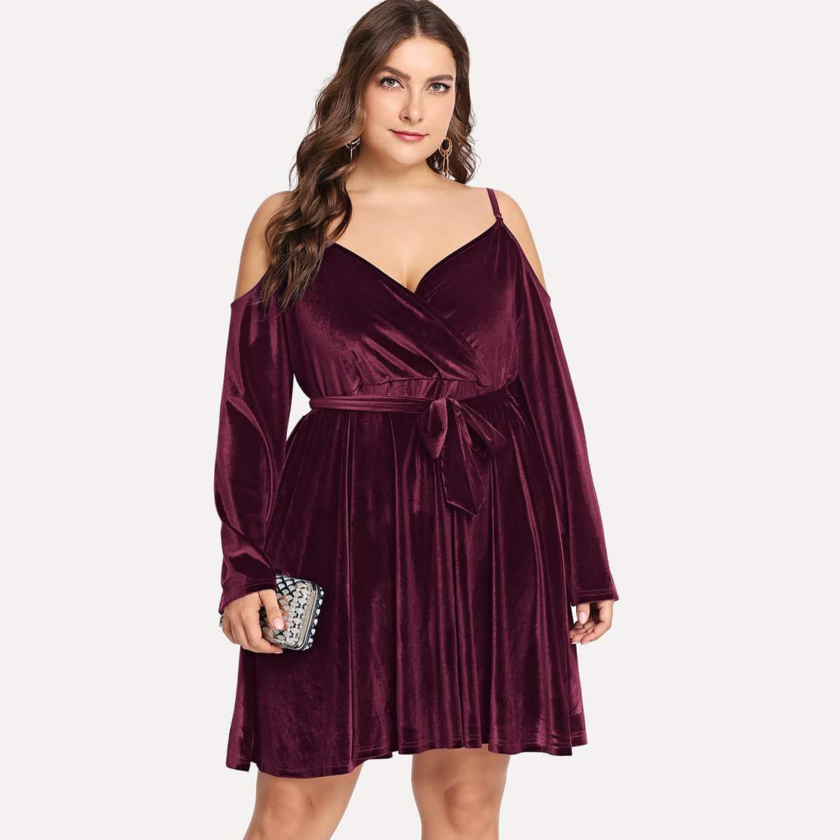 Bordeaux Elegant Vlak Grote maten jurken Riem