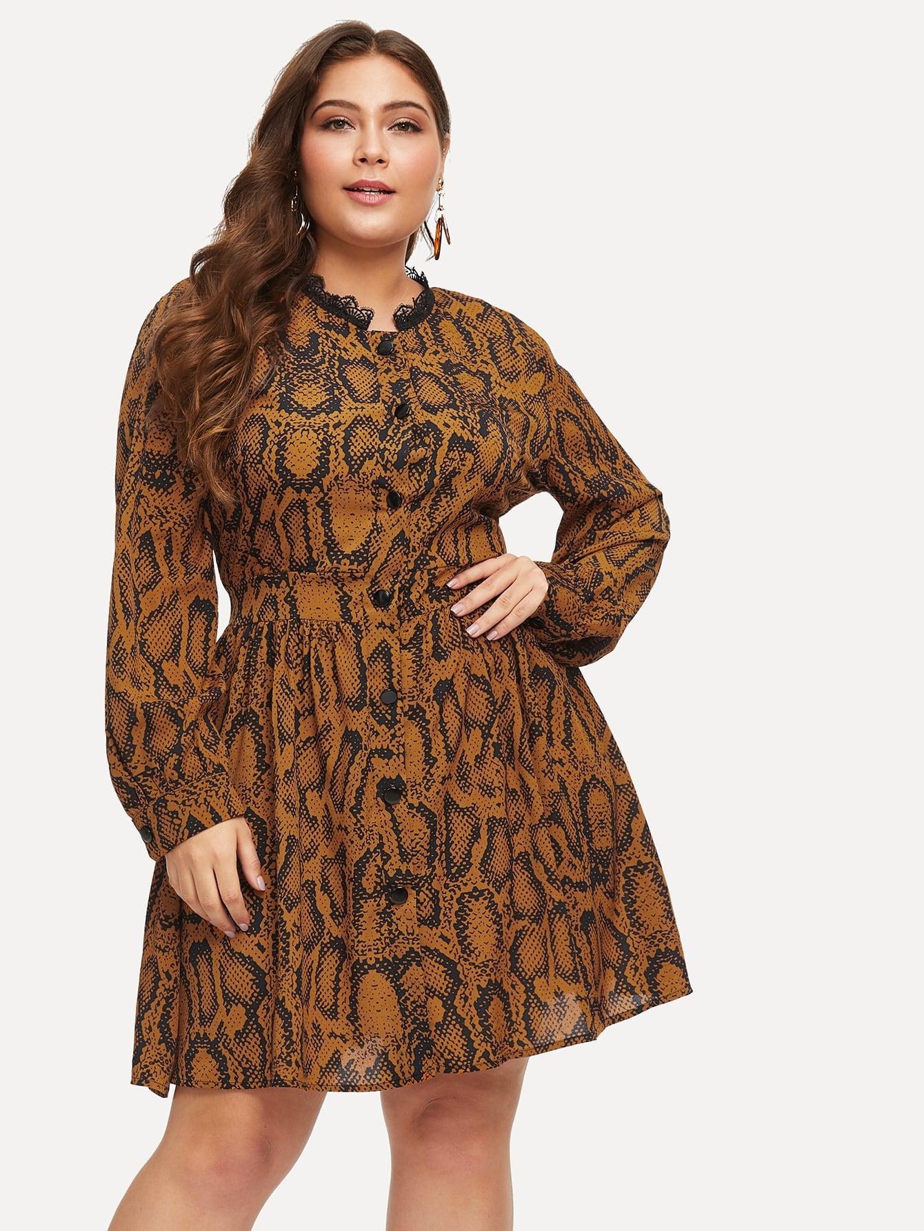Размера плюс контрастное леопардовое платье с кружевами
