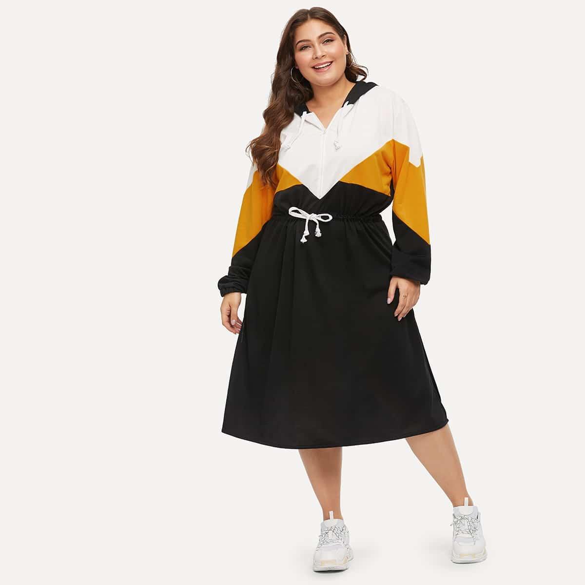 Veel kleurig Casual Grote maten jurken Kleurblok