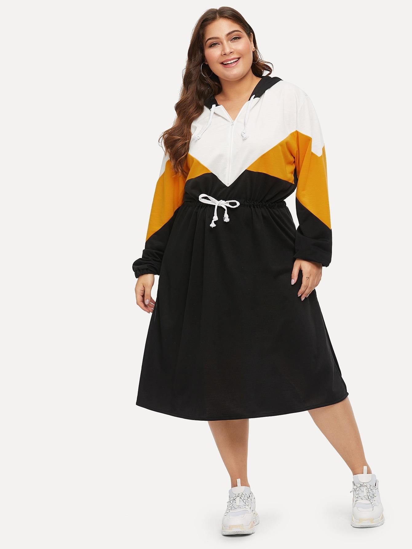 Размера плюс контрастное платье с капюшоном и кулиской