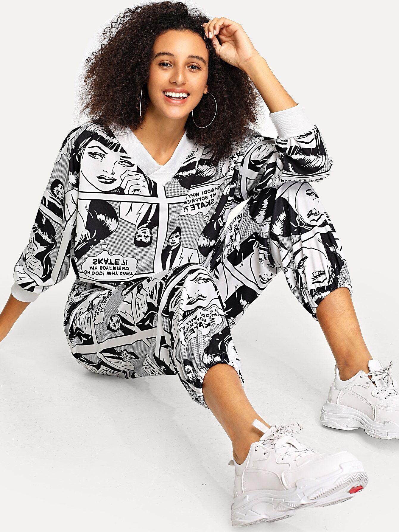 Купить Блуза с принтом графическим и брюки с кулиской, Elaine, SheIn