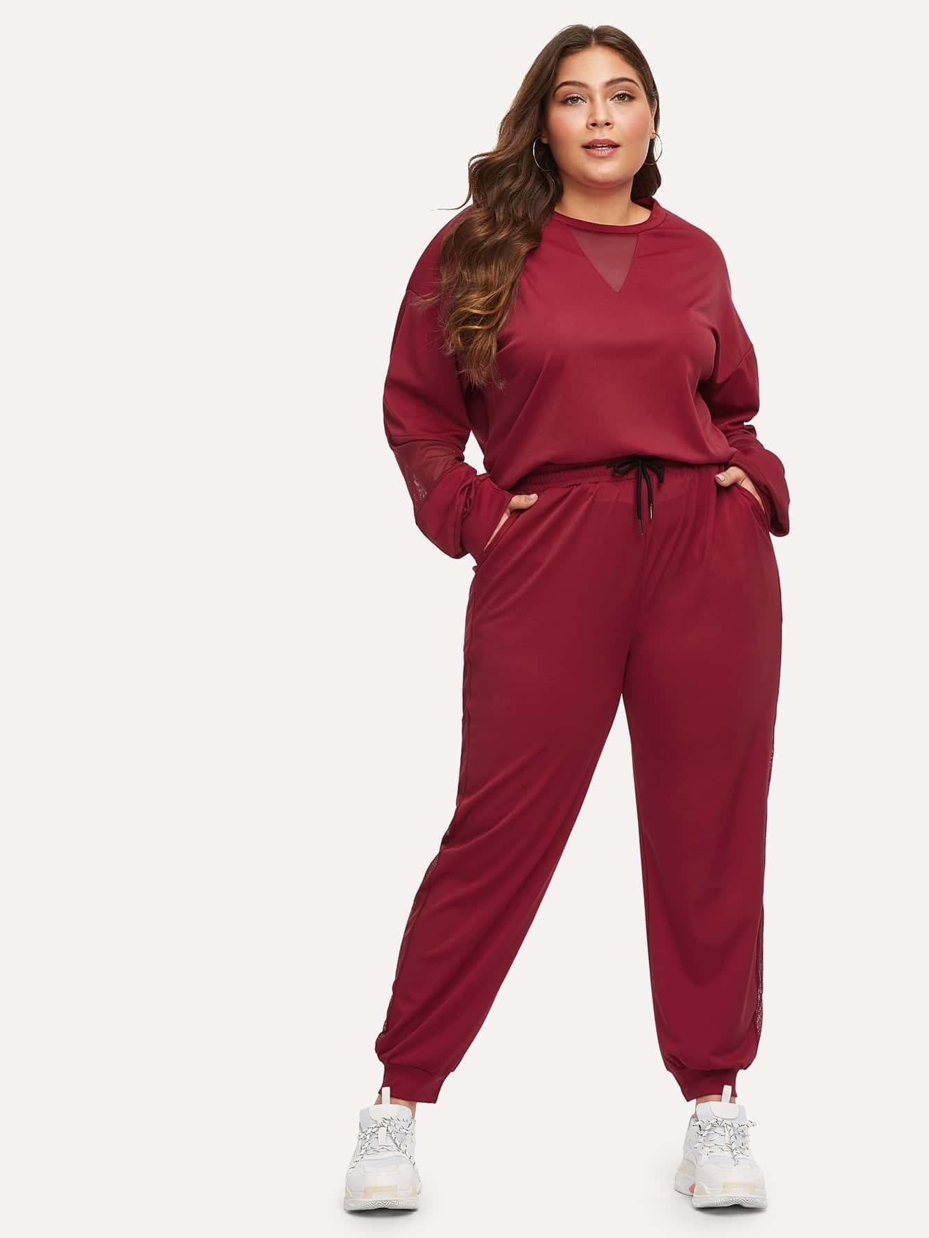 Купить Размера плюс контрастная блуза с заниженной линией плеч и брюки с кулиской, Carol, SheIn