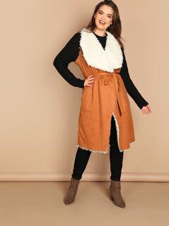 Plus Self Belted Pocket Side Faux Shearling Vest
