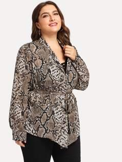 Plus Snake Skin Print Open Front Coat