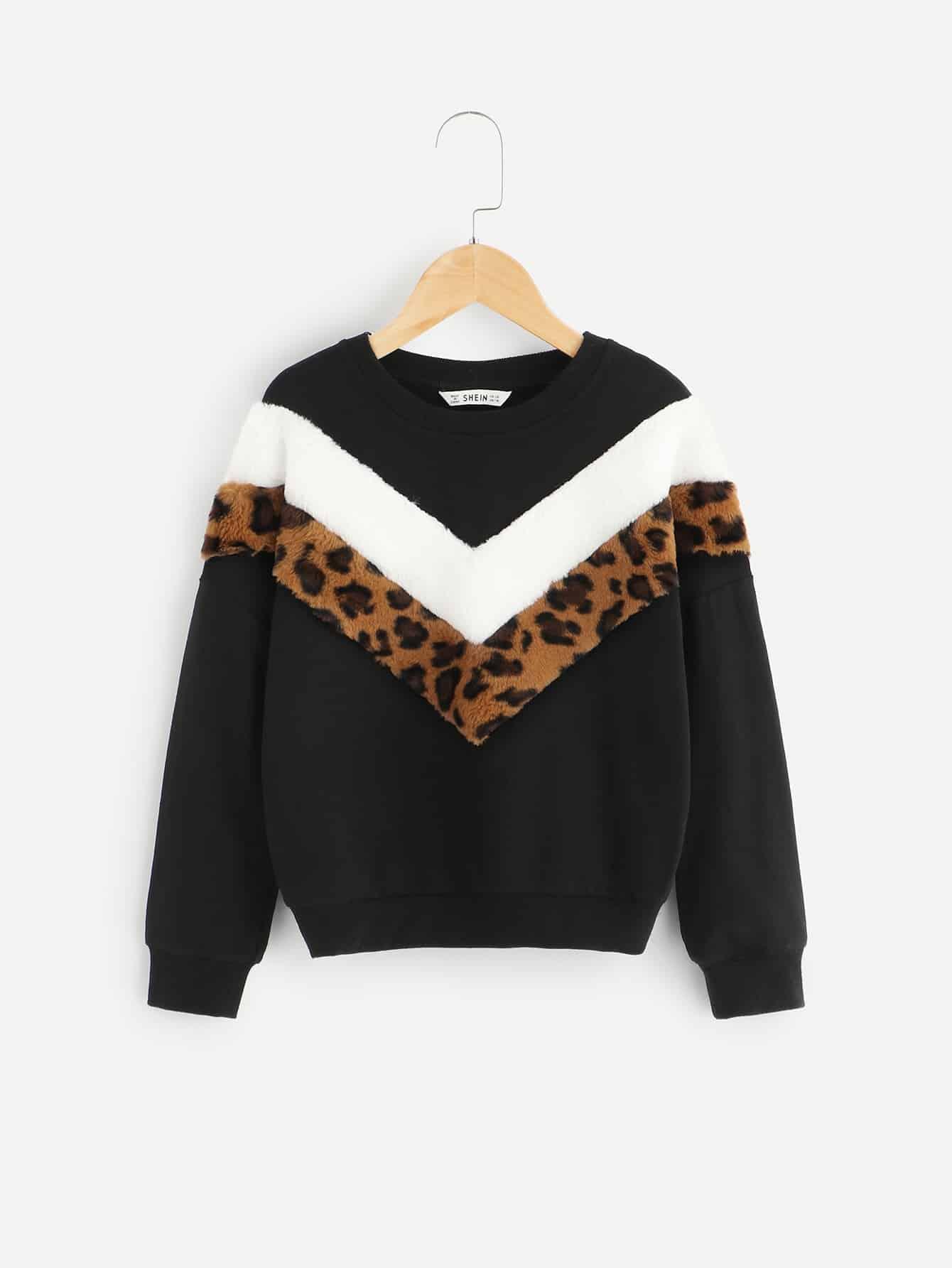 Купить Контрастный пуловер с искусственным мехом для девочек, null, SheIn