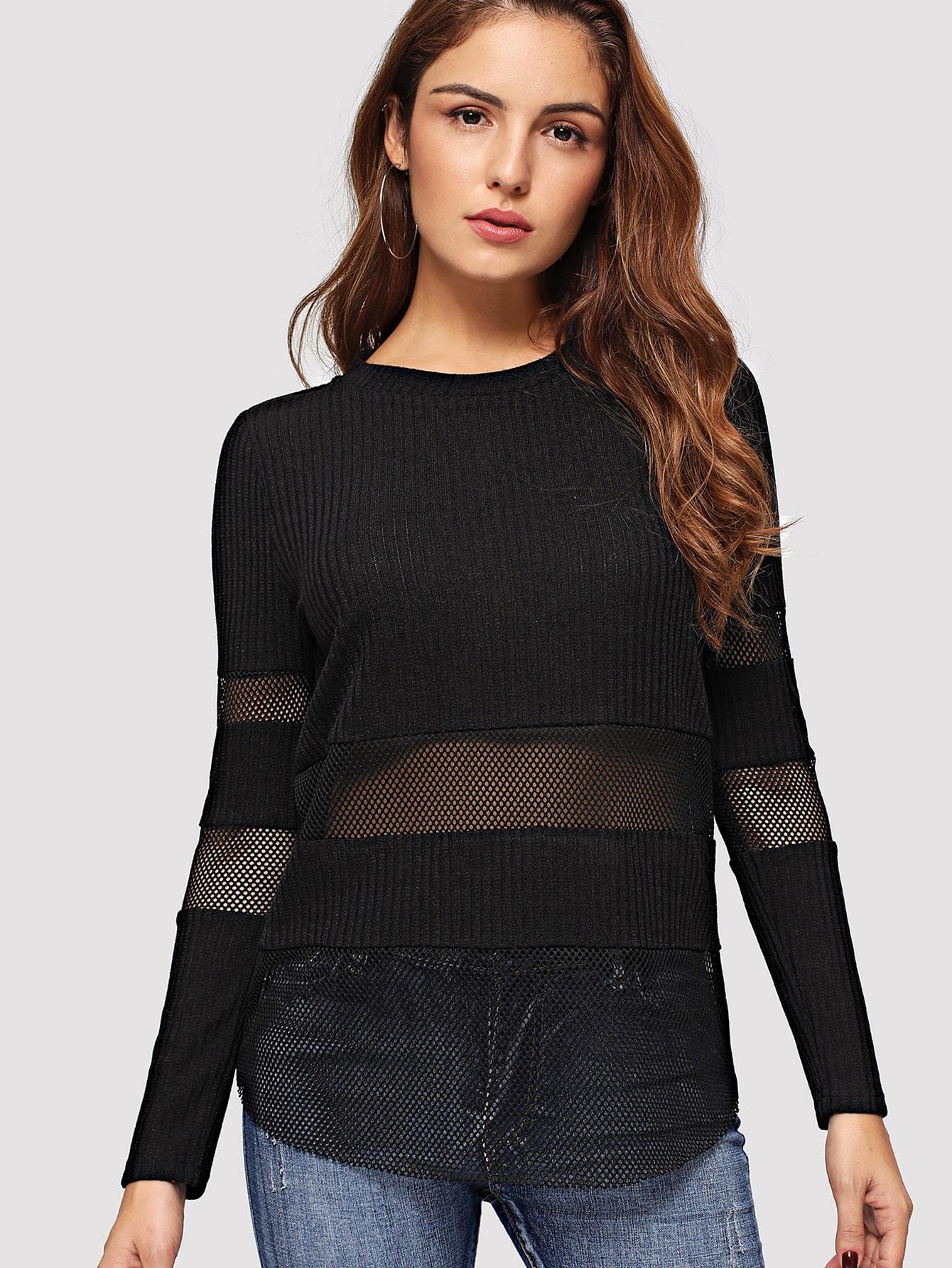 Купить Трикотажный пуловер с сетчатыми вставками, Lisa A, SheIn