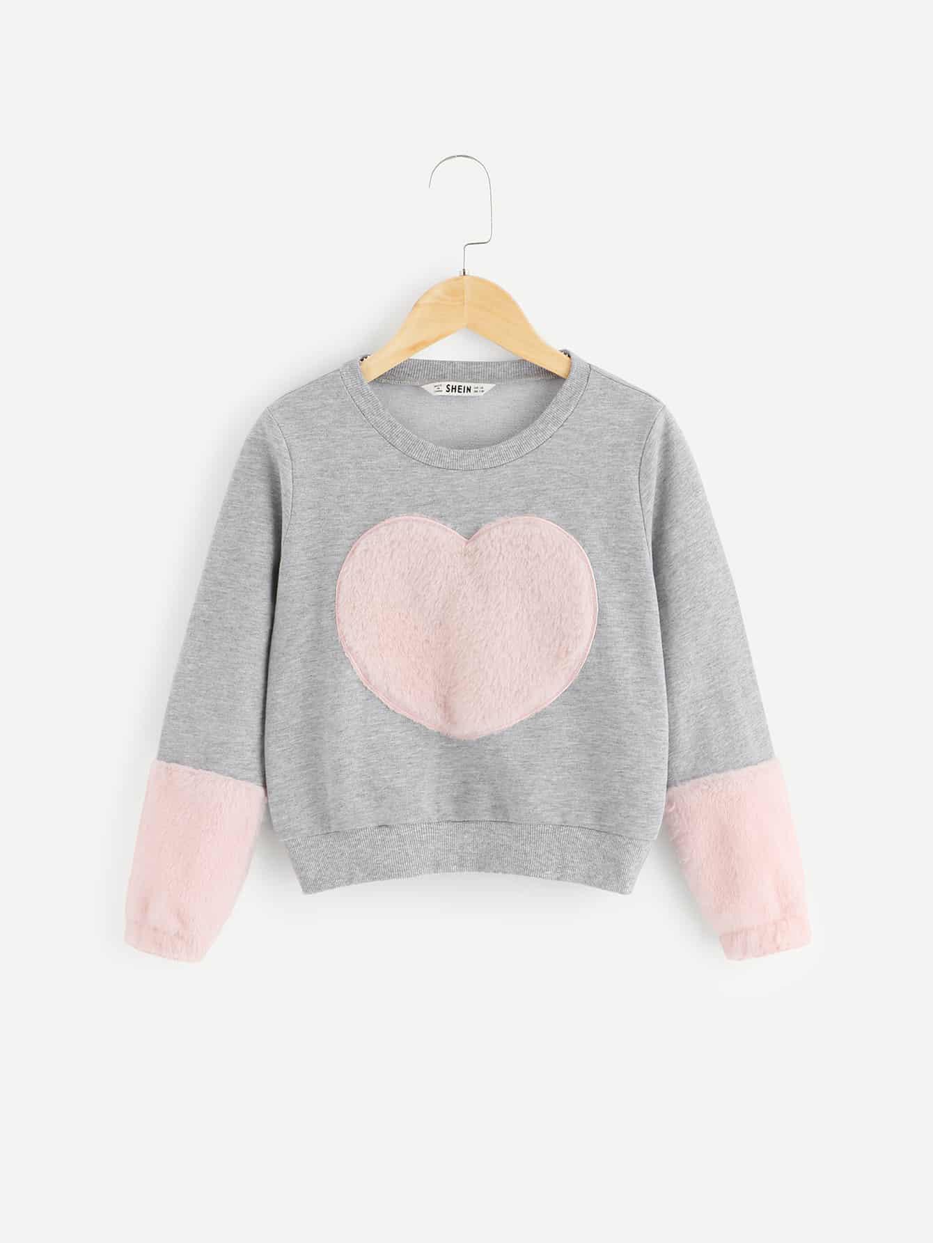 Купить Контрастный пуловер из искусственного меха для девочек, null, SheIn