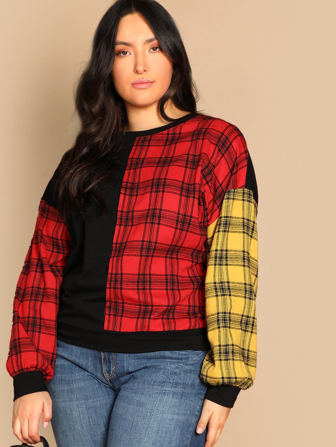 Купить Контрастный пуловер в клетку размера плюс, Yumi, SheIn