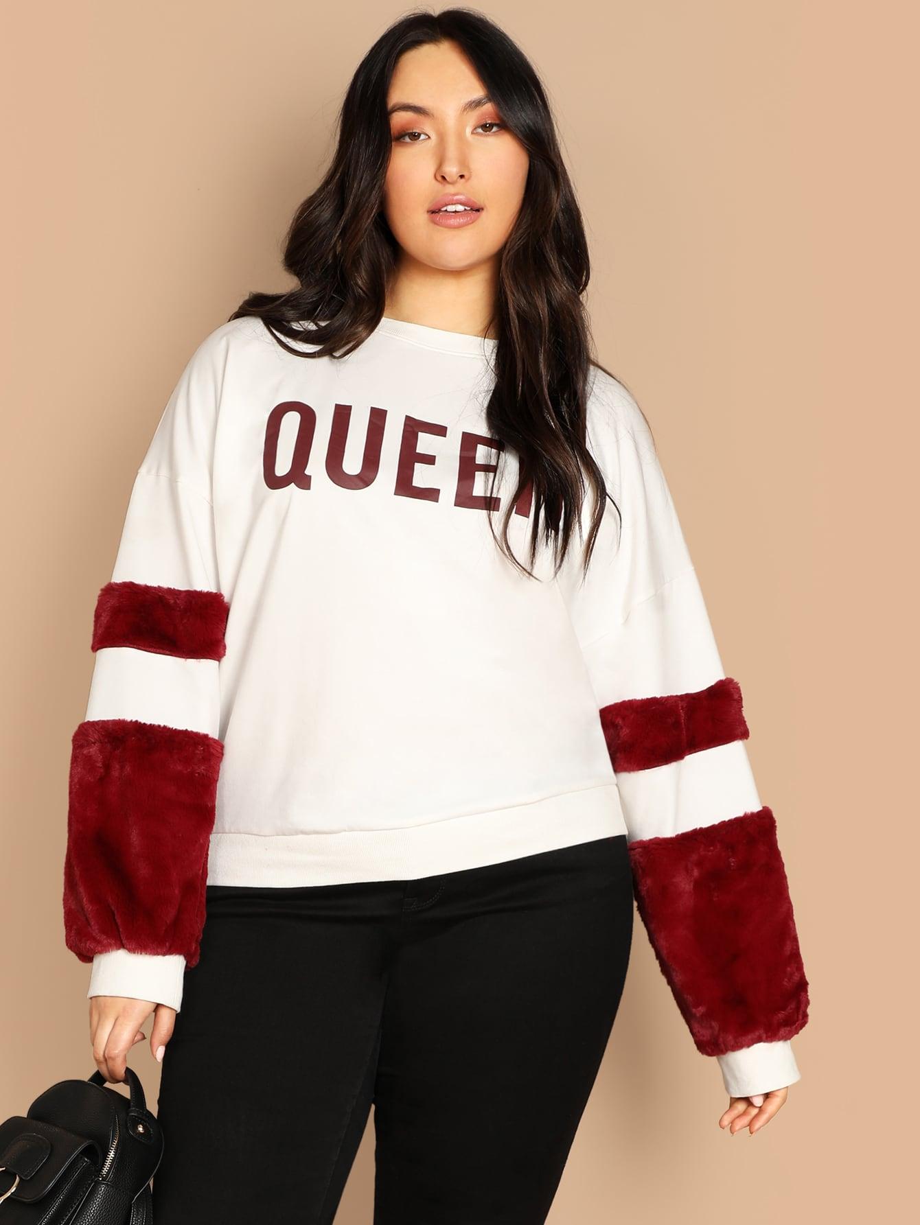 Размер плюс пуловер с искусственным мехом на рукавах, Yumi, SheIn  - купить со скидкой