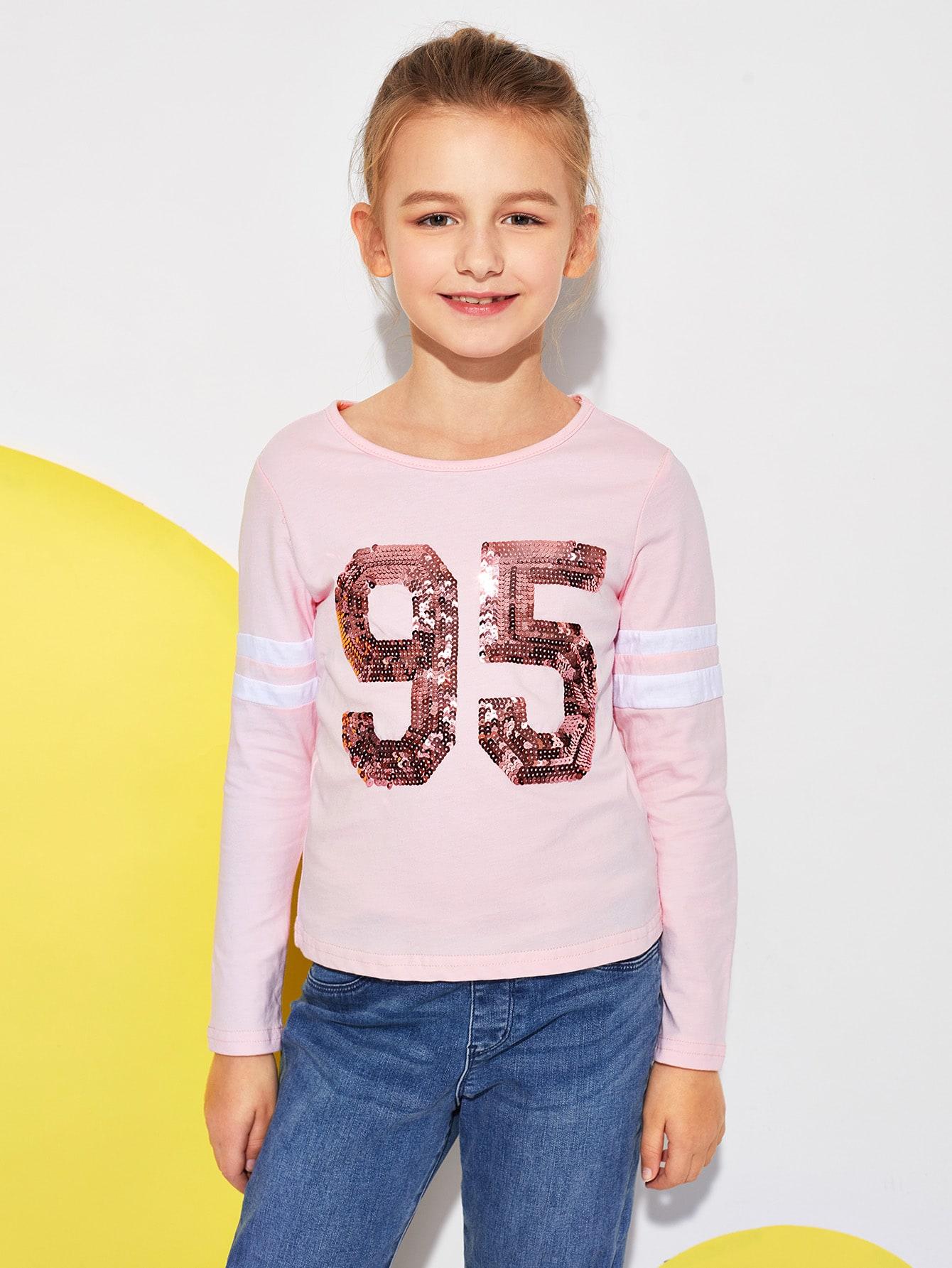 Фото - Для девочек футболка с блестками от SheIn розового цвета
