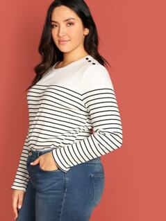 Plus Buttoned Shoulder Striped Tee