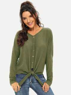 Button Front V-Neck Knot Tee