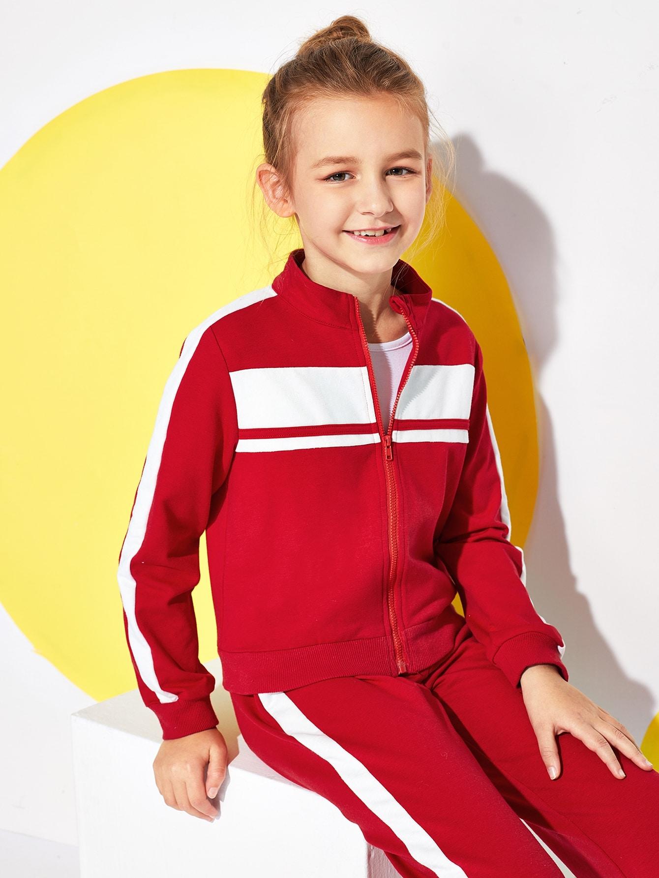 Купить Контрастный свитшот на молнии и брюки комплект для девочек, Sashab, SheIn