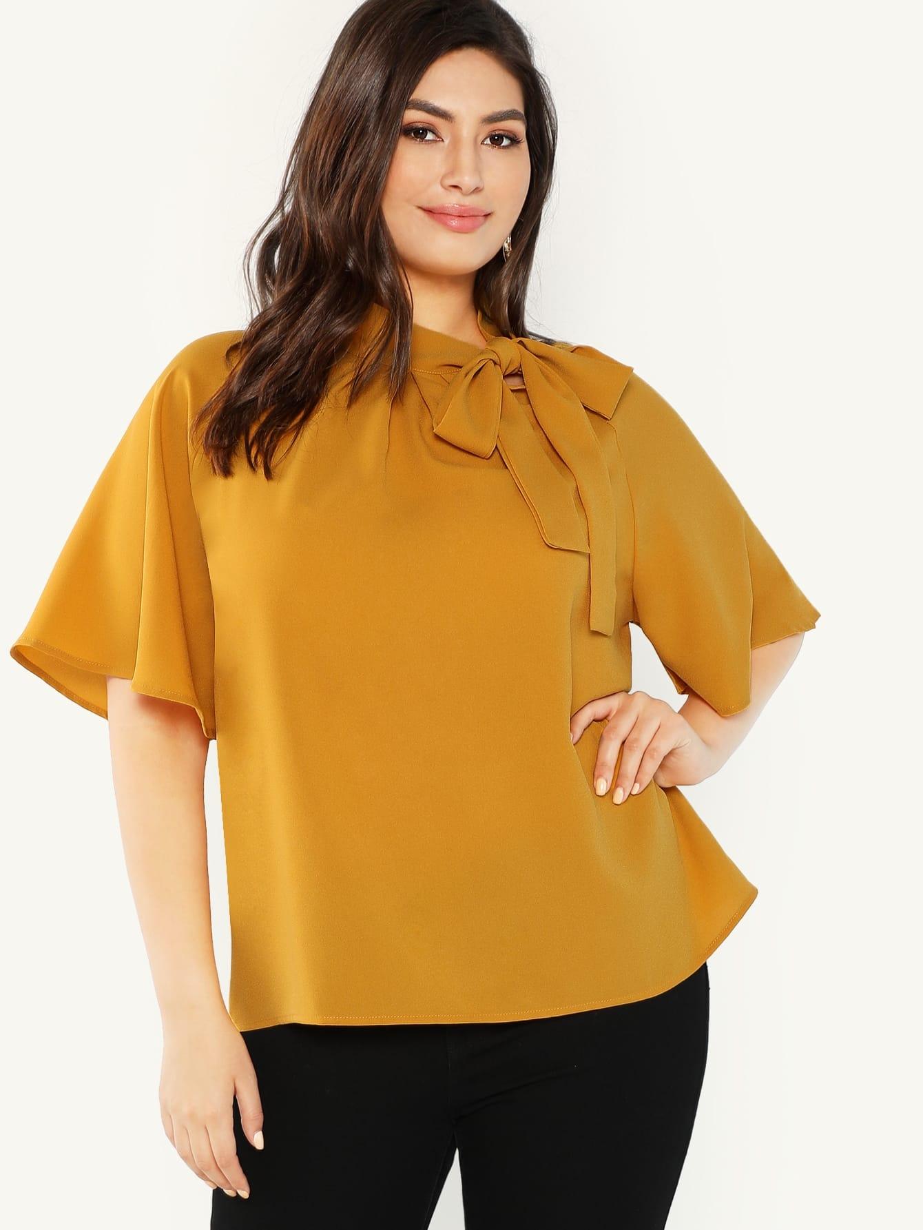 Купить Большая блуза с воротник-бантом и рукав с розеткой, Elisa Krug, SheIn