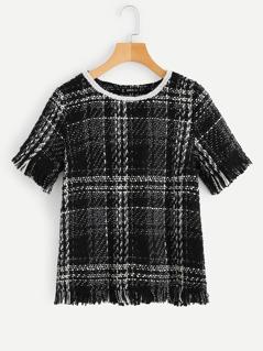 Raw Hem Tweed Plaid Blouse