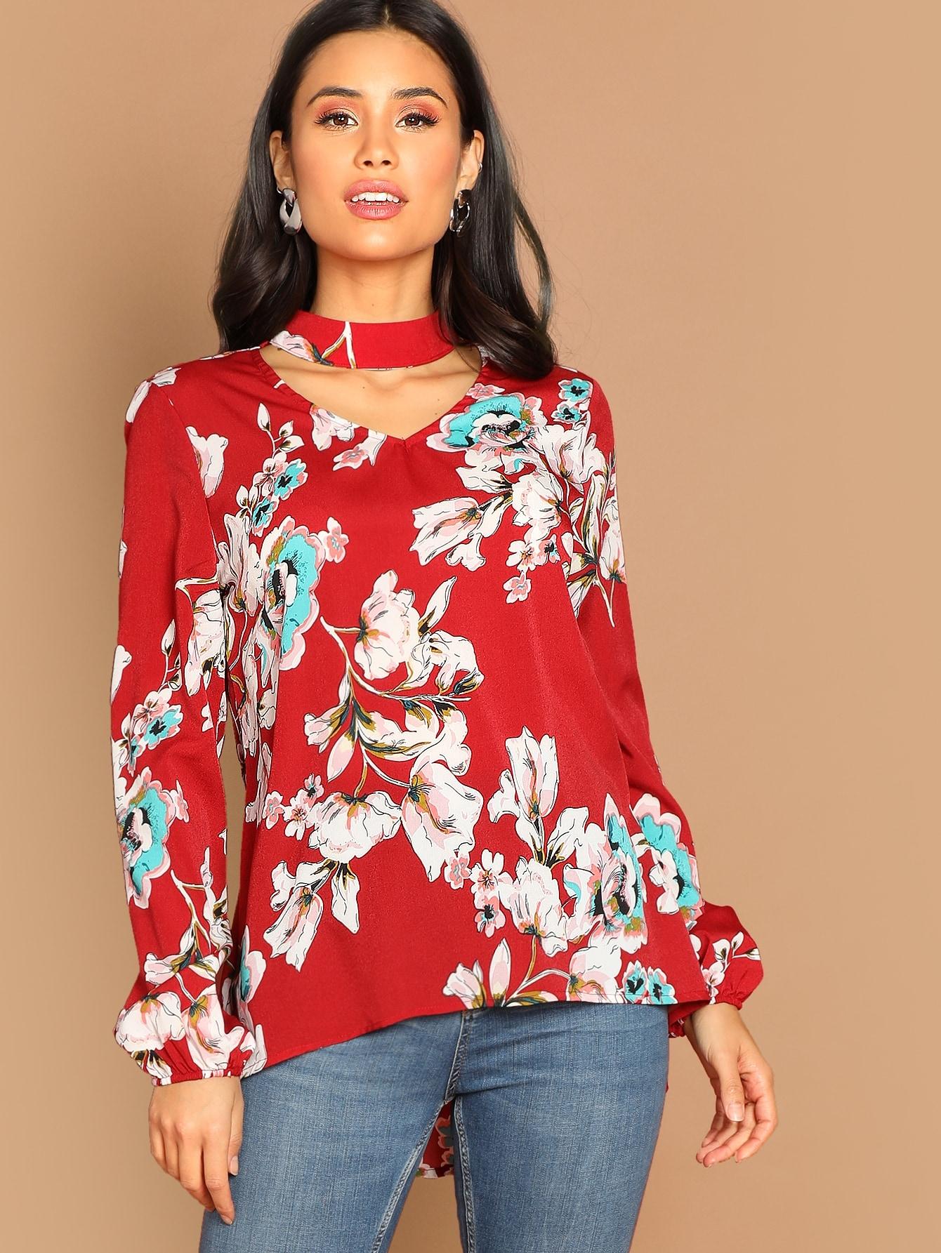 Купить Цветочная блузка с фонарными рукавами, Izzy Marshall, SheIn