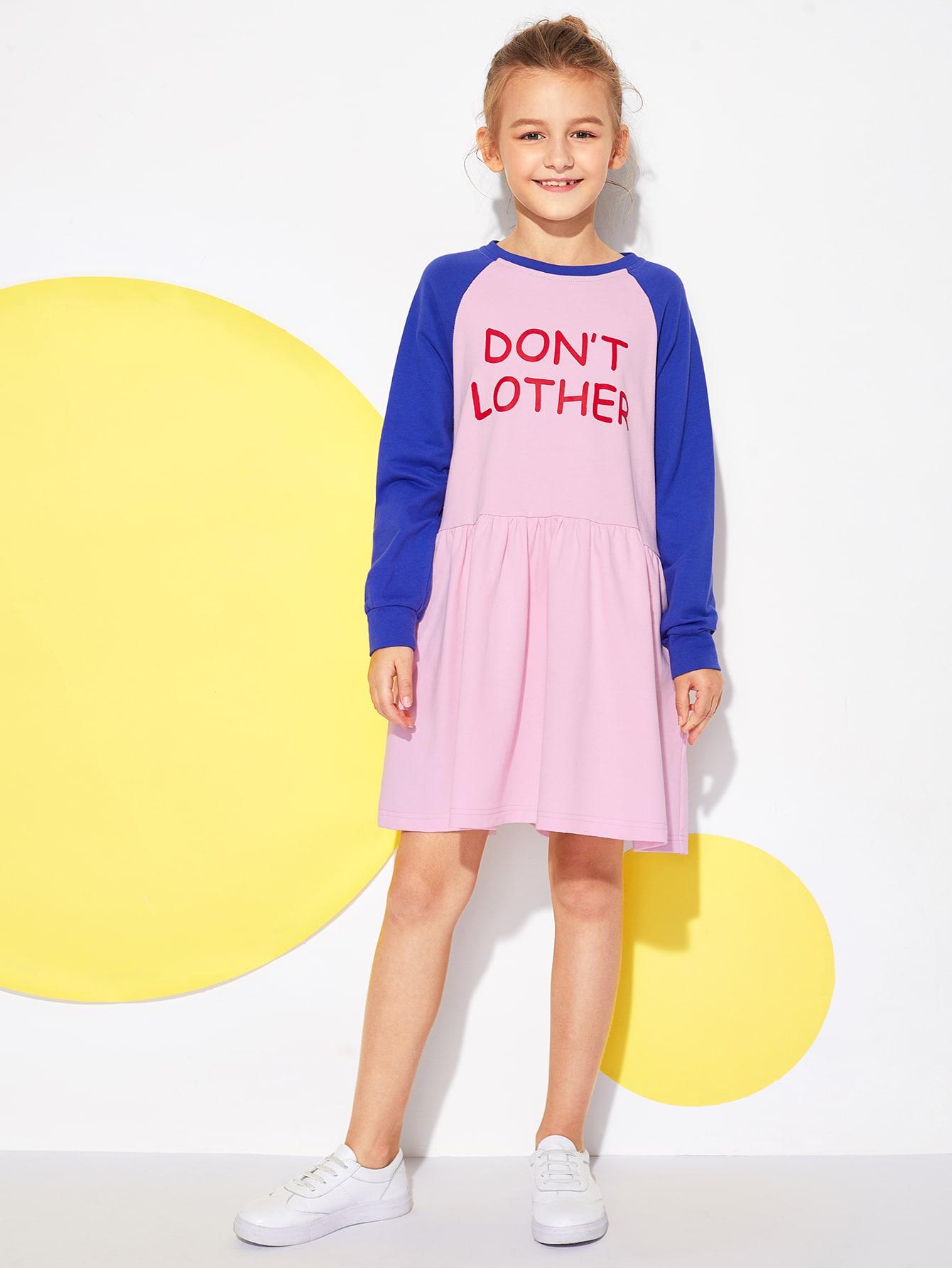 Купить Для девочек контрастное платье с текстовым принтом, Sashab, SheIn