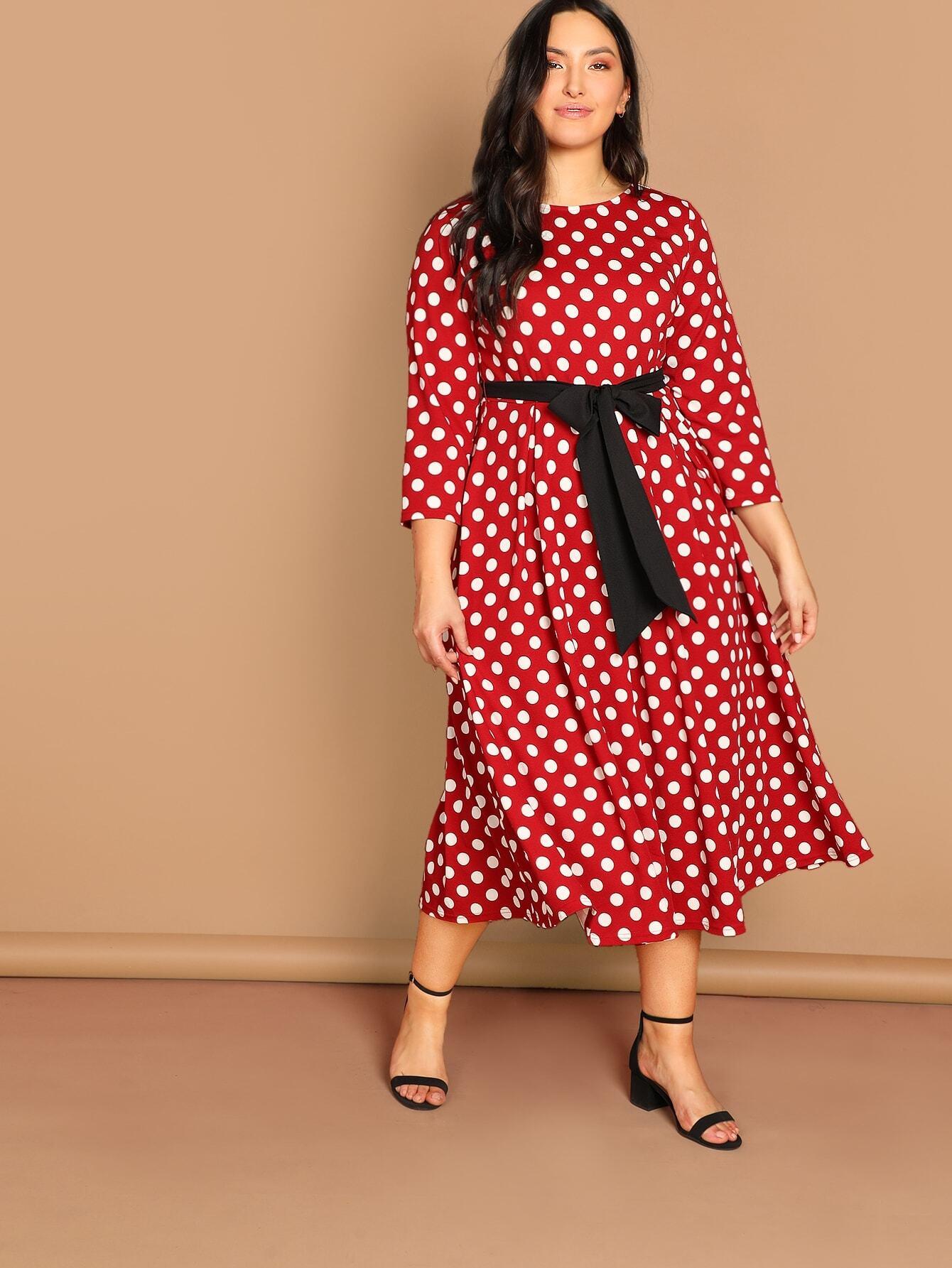 Купить Плюс размеры платье в горошек, Yumi, SheIn