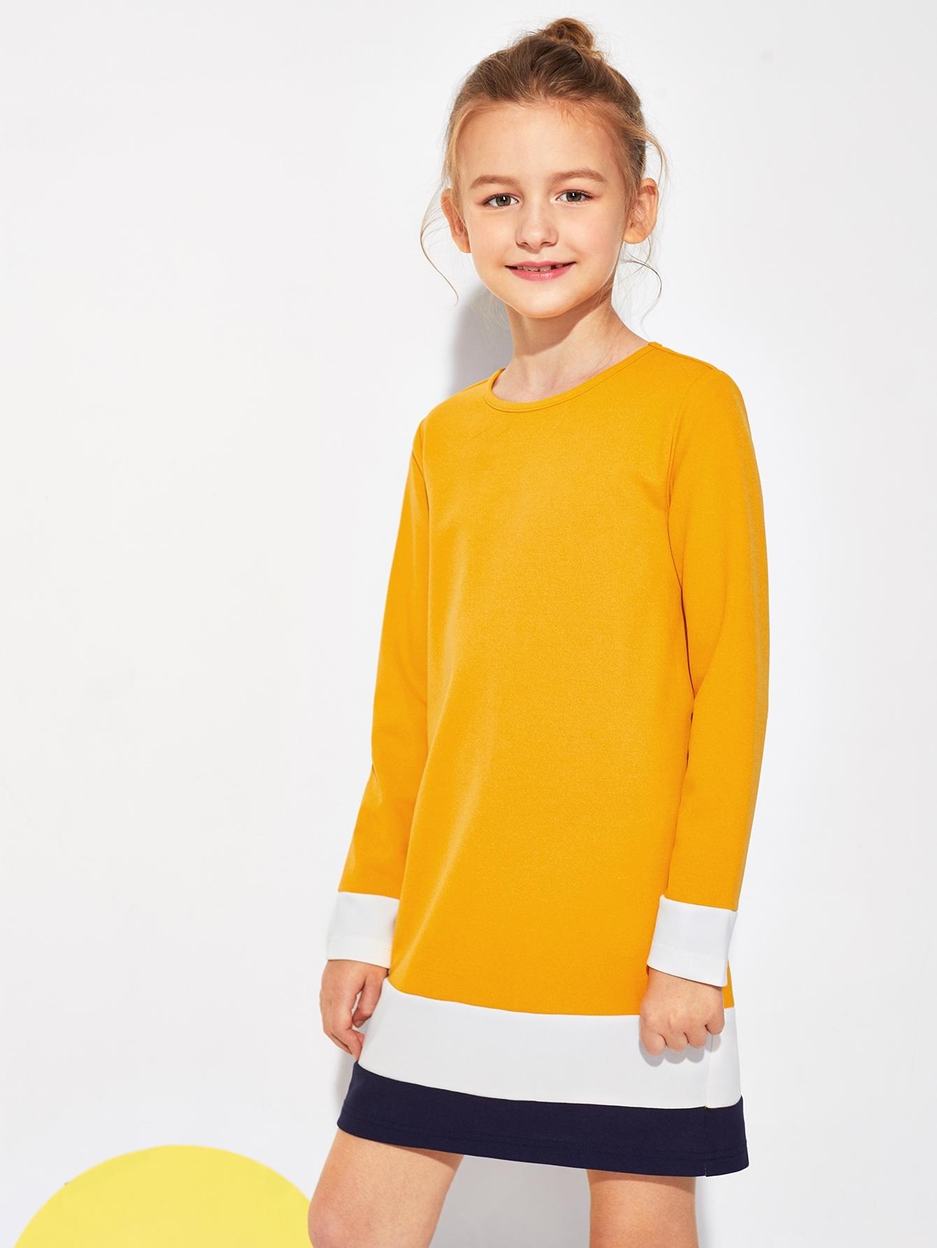 Фото - Контрастное туника платье для девочек от SheIn цвет жёлтые