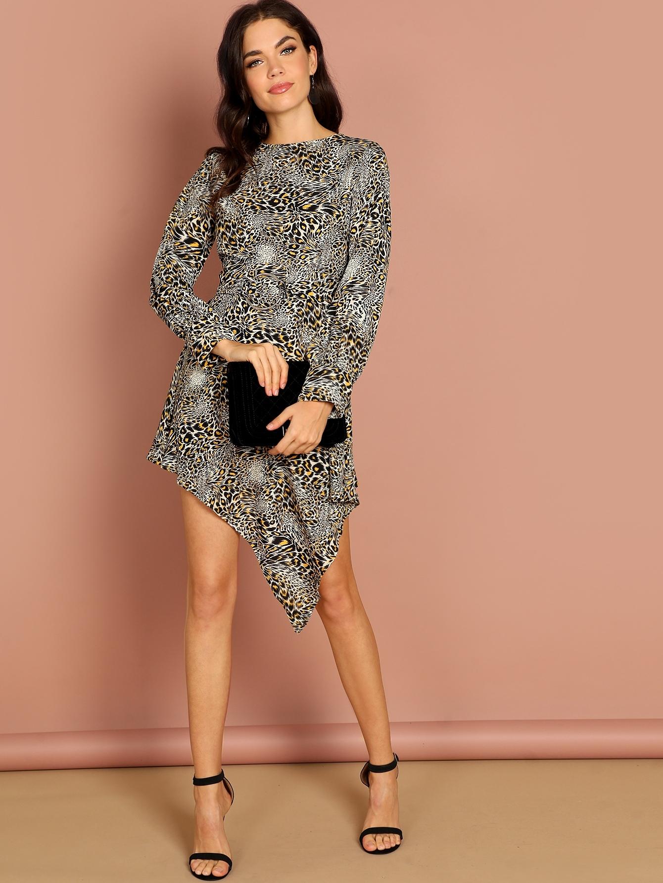 Купить Леопардовое платье с застёжкой молния назад, Aarika Wolf, SheIn