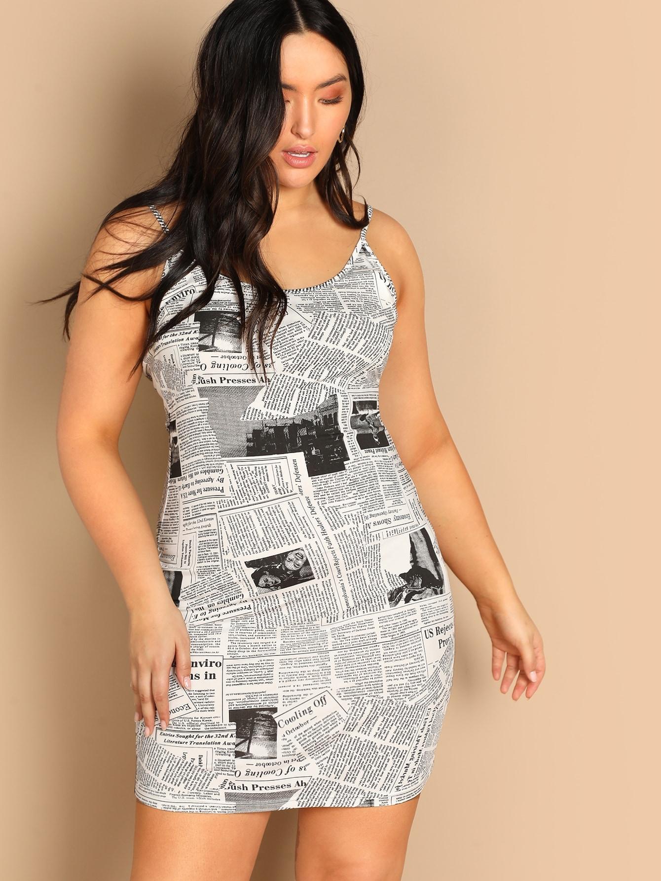 Размер плюс облегающее платье с газетным принтом