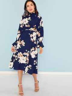 Shirred Neck Bell Sleeve Floral Dress