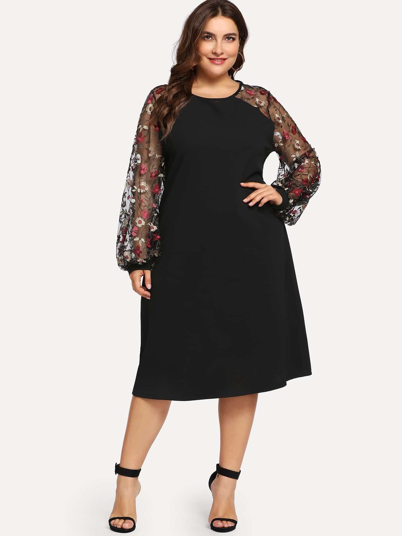 Платье с сетчаным рукавом вышивкой размера плюс