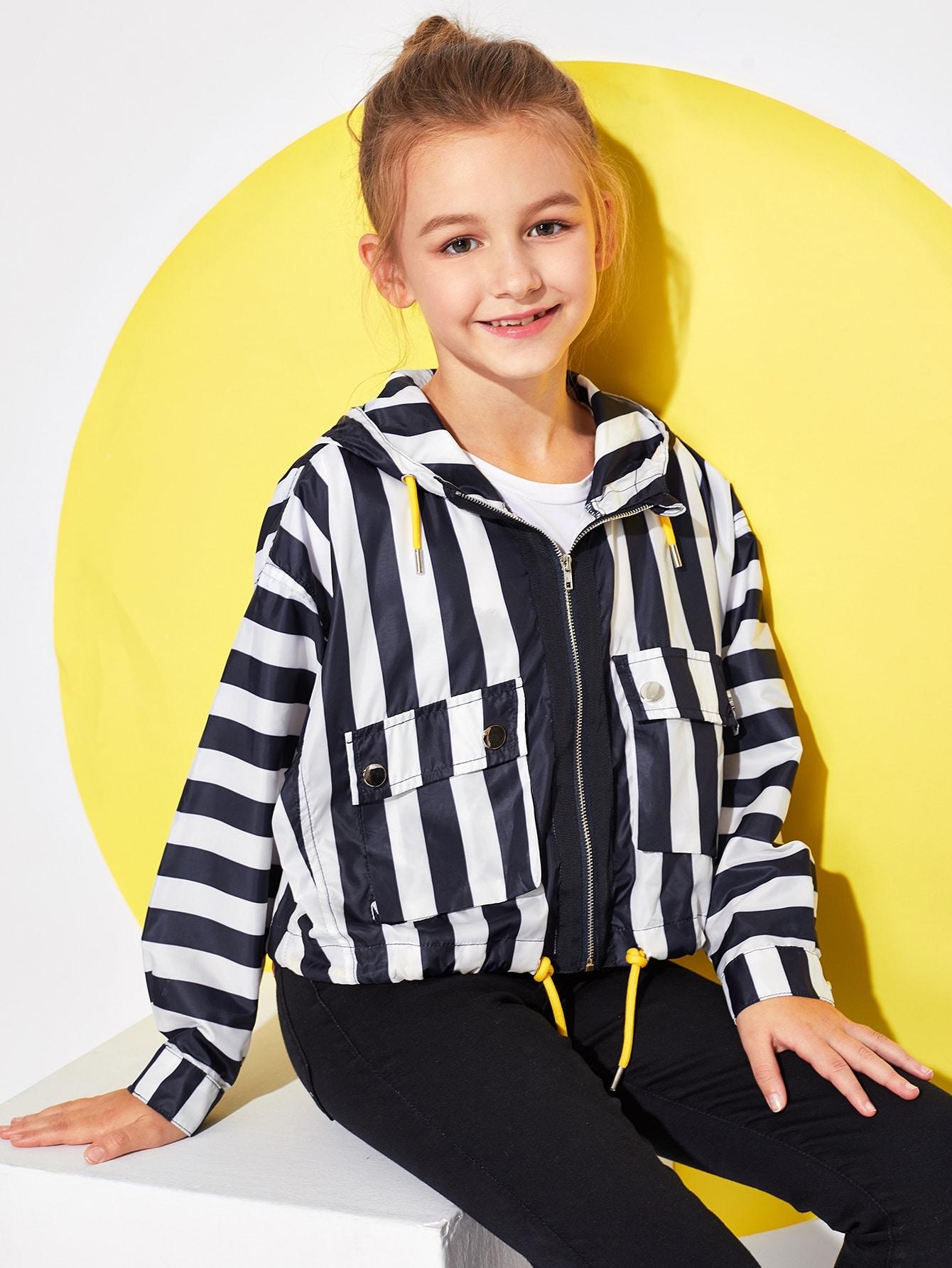 Купить Для девочек полосатая куртка с капюшоном на молнии, Sashab, SheIn