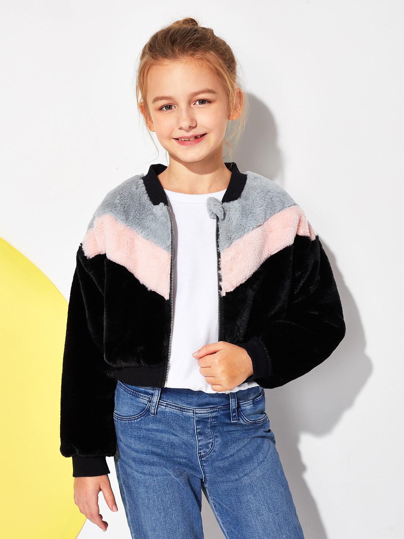 Фото - Контрастная плюшевая куртка на молнии для девочек от SheIn цвет многоцветный