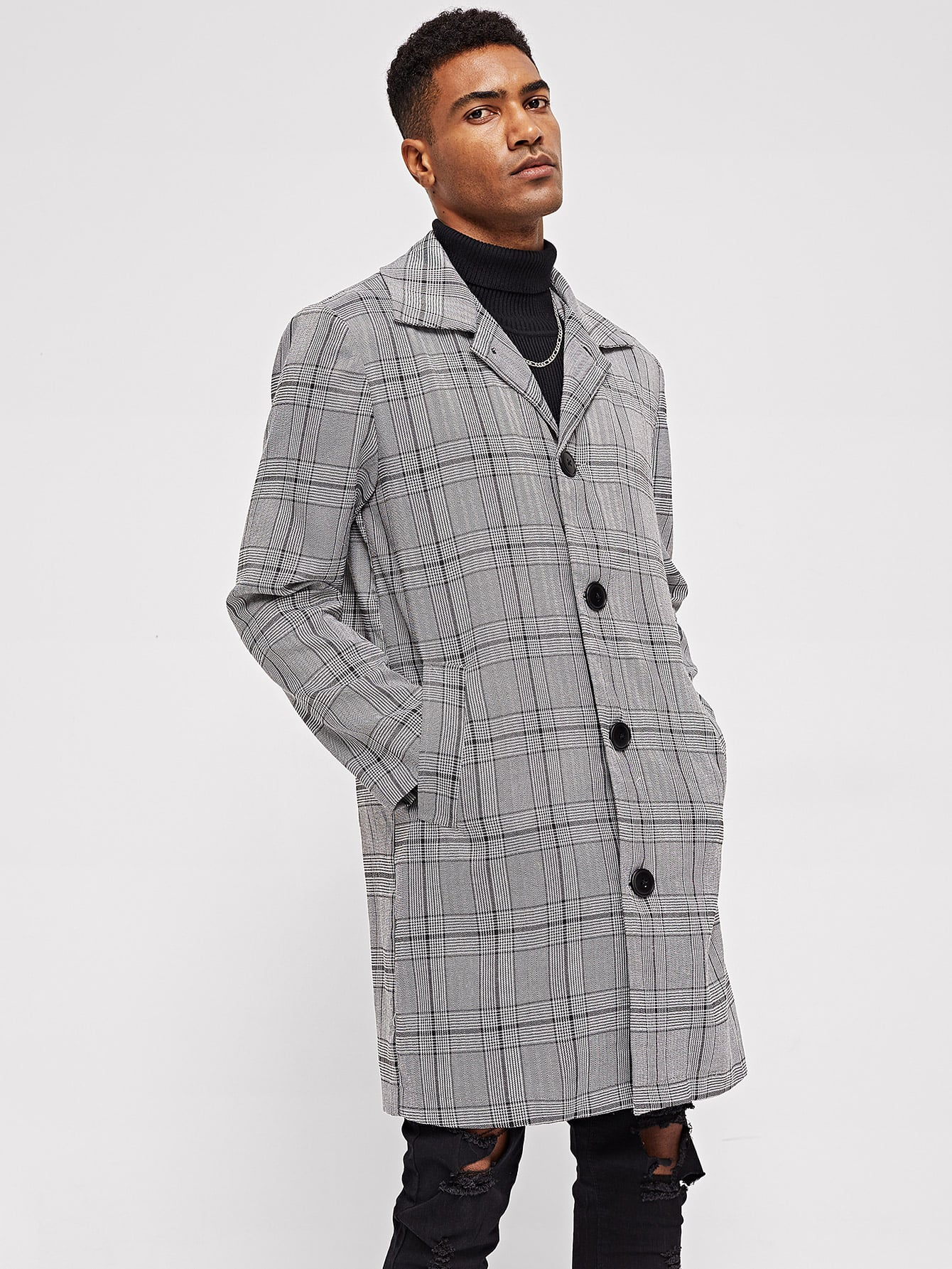 Фото - Мужское клетчатое пальто с пуговицами от SheIn серого цвета