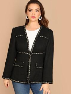 Plus Contrast Trim Hook & Eye Closure Tweed Coat