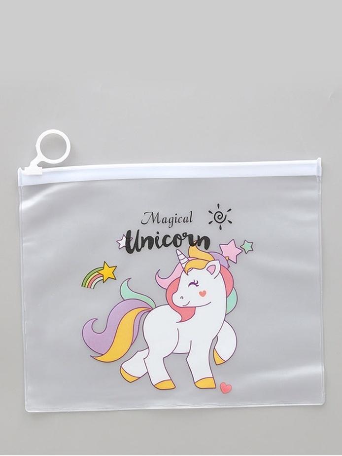 Unicorn Print Clear Pencil Bag, null, SheIn  - купить со скидкой