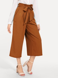 80s Slant Pocket Belted Wide Leg Pants