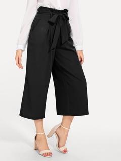80s Slant Pocket Belted Wide Leg Pants