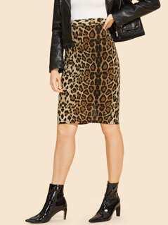 80s Leopard Print Bodycon Skirt