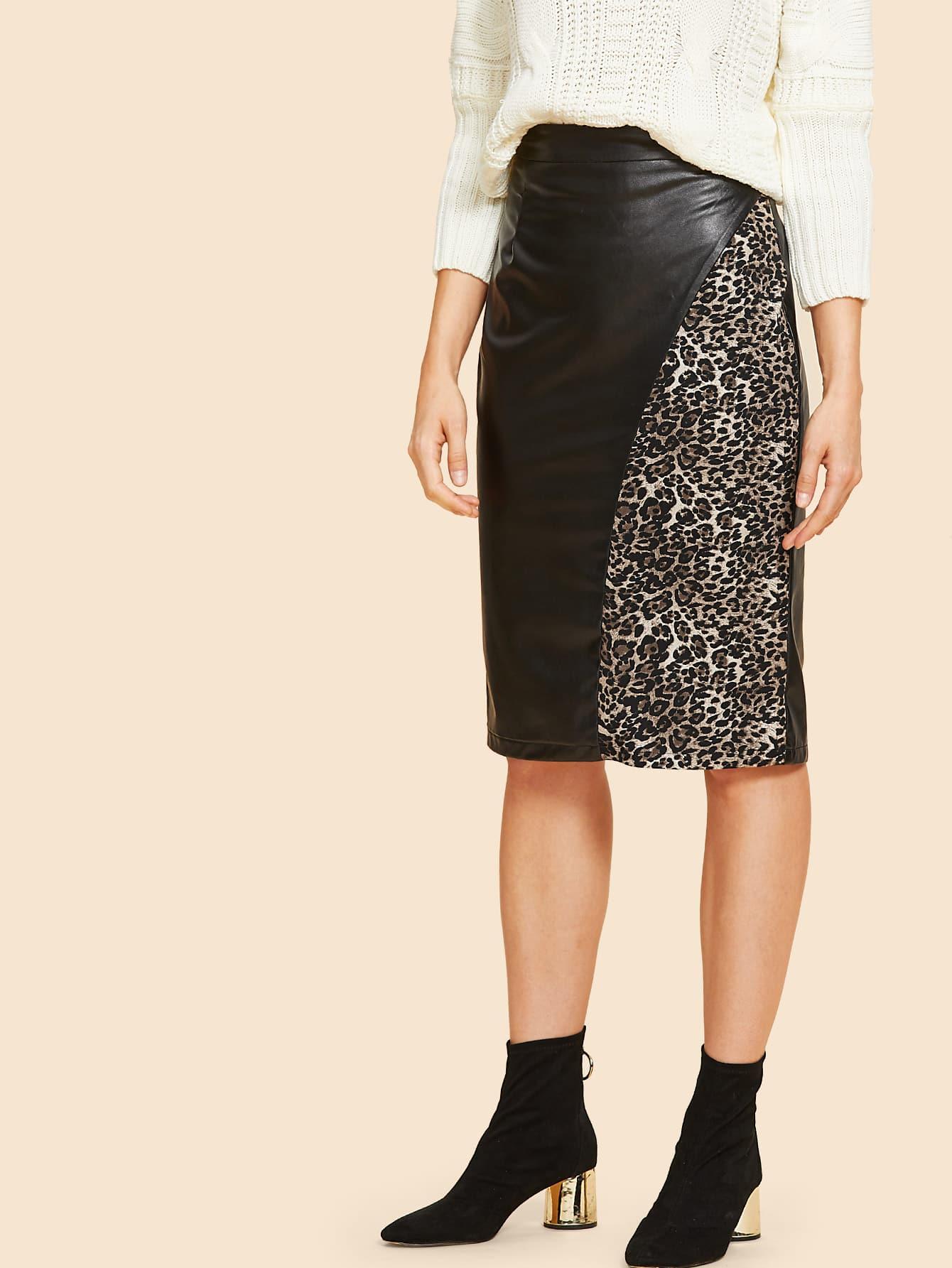 Купить Контрастная кожаная юбка с леопардовым принтом, Masha, SheIn