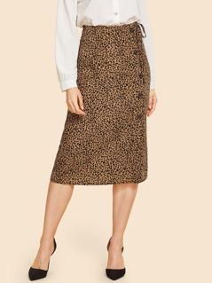 80s Button Front Leopard Print Knot Skirt