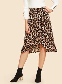 80s Waist Belted Ruffle Hem Leopard Print Skirt