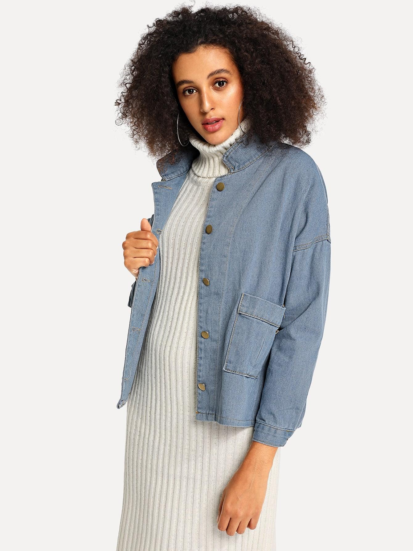 Купить Джинсовая куртка на пуговицах с карманом, Elaine, SheIn