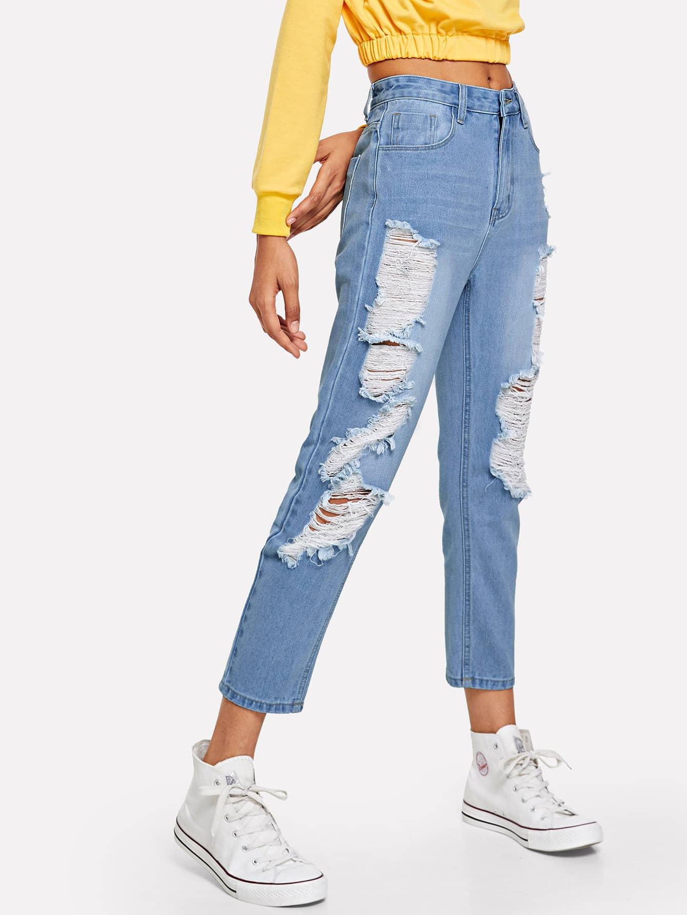 Купить Модные рваные джинсы, Ana, SheIn