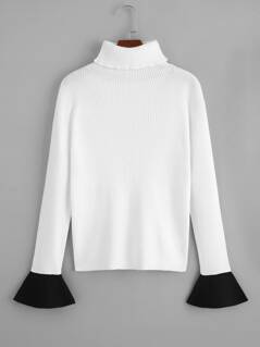 Contrast Ruffle Cuff Ribbed Knit Sweater