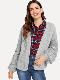 Open Front Mixed Knit Cardigan