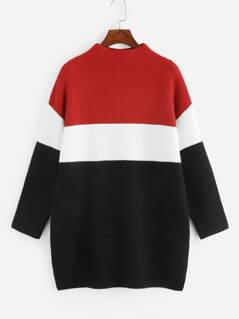 Color-block Longline Sweater
