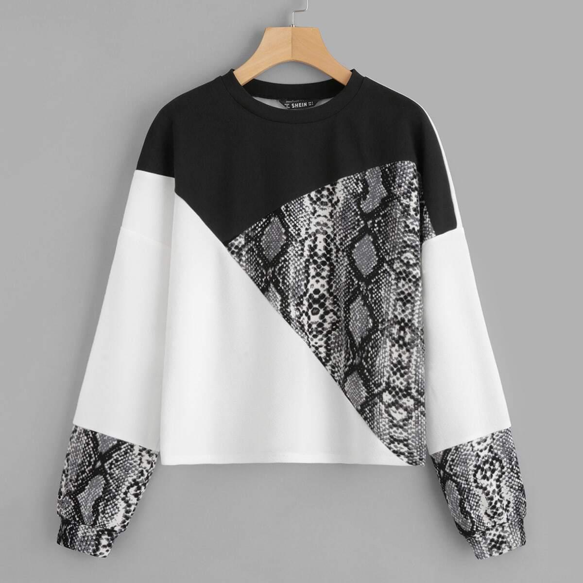 Veel kleurig Casual Sweater Kleurblok