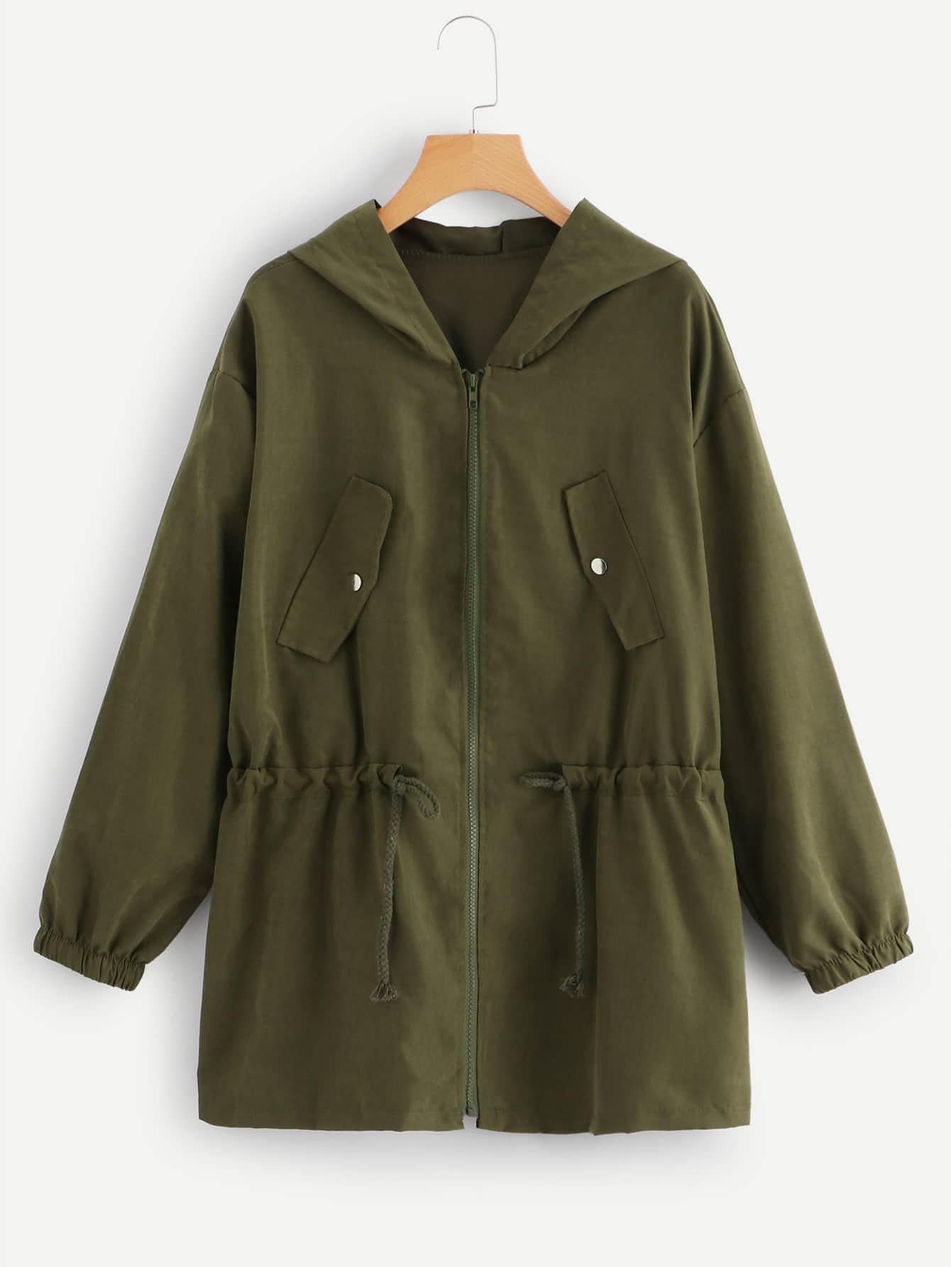 Большое простое пальто с кулиской и застёжкой молния, null, SheIn  - купить со скидкой