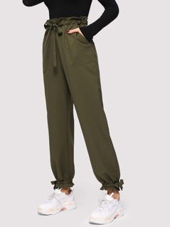 Pocket Patched Drawstring Pants